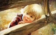 金色童年 二 法国画家 Donald Zolan 儿童水彩画集 马厩小女孩 小孩子水彩画图片 金色童年儿童水彩画壁纸二 绘画壁纸