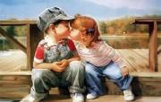 金色童年 二 法国画家 Donald Zolan 儿童水彩画集 初吻 童年生活水彩画图片 金色童年儿童水彩画壁纸二 绘画壁纸