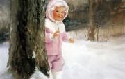 金色童年 二 法国画家 Donald Zolan 儿童水彩画集 雪地探险 小孩子水彩画图片 金色童年儿童水彩画壁纸二 绘画壁纸