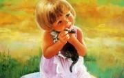 金色童年 二 法国画家 Donald Zolan 儿童水彩画集 我的猫咪 可爱小女孩水彩画壁纸 金色童年儿童水彩画壁纸二 绘画壁纸