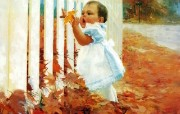 金色童年 二 法国画家 Donald Zolan 儿童水彩画集 初秋 国外儿童水彩绘画 金色童年儿童水彩画壁纸二 绘画壁纸
