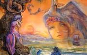 Sunset Rhapsody Josephine Wall 华丽奇幻插画 Josephine Wall 天国精灵华丽幻想插画第二集 绘画壁纸
