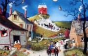 1600 1200 My First Halloween 美国乡村风情画壁纸 Linda Nelson Stocks 美国乡村风情画壁纸 绘画壁纸