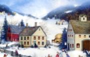 1600 1200 Winter Fun 美国乡村风情绘画壁纸 Linda Nelson Stocks 美国乡村风情画壁纸 绘画壁纸