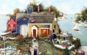 1600 1200 Summer Cottage 美国乡村风情绘画 Linda Nelson Stocks 美国乡村风情画壁纸 绘画壁纸