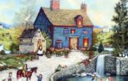 1600 1200 Topiary Falls 美国乡村风情绘画 Linda Nelson Stocks 美国乡村风情画壁纸 绘画壁纸
