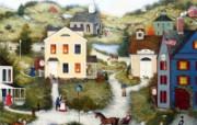 1600 1200 Old Dog Livery 美国乡村风情画壁纸 Linda Nelson Stocks 美国乡村风情画壁纸 绘画壁纸