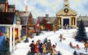 1600 1200 Caroling in the Village 美国乡村风情画壁纸 Linda Nelson Stocks 美国乡村风情画壁纸 绘画壁纸