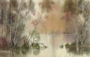 朦胧写意水彩画壁纸 风景水彩画 雨后的宁静 图片壁纸 朦胧写意水彩画壁纸 绘画壁纸