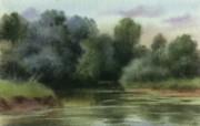 朦胧写意水彩画壁纸 写意水彩画 河畔绿荫 图片壁纸 朦胧写意水彩画壁纸 绘画壁纸
