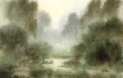 朦胧写意水彩画壁纸 风景水彩画 宁静山谷 图片壁纸 朦胧写意水彩画壁纸 绘画壁纸