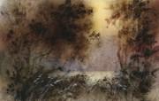 朦胧写意水彩画壁纸 写意水彩画 琥珀色的黎明 图片壁纸 朦胧写意水彩画壁纸 绘画壁纸