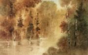 朦胧写意水彩画壁纸 风景水彩画 秋天的序幕 图片壁纸 朦胧写意水彩画壁纸 绘画壁纸