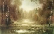 朦胧写意水彩画壁纸 风景水彩画 雨后林景壁纸 图片壁纸 朦胧写意水彩画壁纸 绘画壁纸
