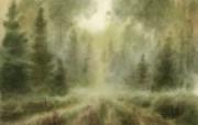 朦胧写意水彩画壁纸 风景水彩画 神秘森林 图片壁纸 朦胧写意水彩画壁纸 绘画壁纸