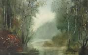 朦胧写意水彩画壁纸 写意水彩画 森林小河 图片壁纸 朦胧写意水彩画壁纸 绘画壁纸