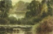 朦胧写意水彩画壁纸 风景水彩画 森林小河 图片壁纸 朦胧写意水彩画壁纸 绘画壁纸