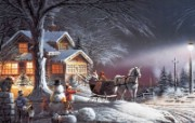 Winter Wonderland Terry Redlin 野外写生油画壁纸 美国画家Terry Redlin 绘画壁纸 绘画壁纸