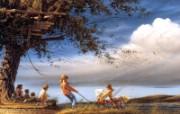 Spring Fever Terry Redlin 野外写生油画壁纸 美国画家Terry Redlin 绘画壁纸 绘画壁纸