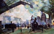 印象派画家 壁纸 莫奈油画 Arrival of the Normandy Train Gare Saint Lazare 1600 1200 莫奈 Claude Monet 绘画作品 绘画壁纸