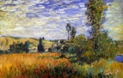 印象派画家 壁纸 Claude Monet Painting Landscape at Vetheuil 1600 1200 莫奈 Claude Monet 绘画作品 绘画壁纸