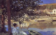 印象派画家 壁纸 莫奈油画 River Scene at Bennecourt 1600 1200 莫奈 Claude Monet 绘画作品 绘画壁纸