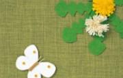 日本风情手工布艺画 春夏篇 花与蝴蝶 日本手工布艺贴画壁纸 日本风情手工布艺贴画春夏篇 绘画壁纸