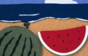 日本风情手工布艺画 春夏篇 夏日海滩 日本风情手工布艺画图片 日本风情手工布艺贴画春夏篇 绘画壁纸