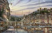 Portofino Dawn Robert Finale 温馨小镇油画 Robert Finale 浪漫写意油画作品 绘画壁纸
