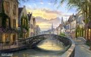 Reflection of Belgium Robert Finale 比利时温馨小镇风景油画 Robert Finale 浪漫写意油画作品 绘画壁纸