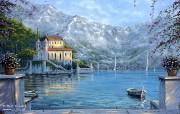 Villa Di Lago Robert Finale 河边小筑浪漫油画 Robert Finale 浪漫写意油画作品 绘画壁纸