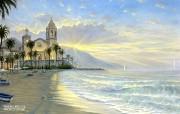 Costa Azul Robert Finale 海滩风景油画壁纸 Robert Finale 浪漫写意油画作品 绘画壁纸