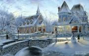 Home for Christmas Robert Finale 白色圣诞油画 Robert Finale 浪漫写意油画作品 绘画壁纸