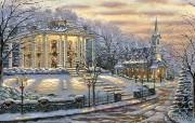 Joys of Christmas Robert Finale 白色圣诞油画 Robert Finale 浪漫写意油画作品 绘画壁纸