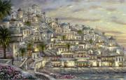 milos villas in Greece Robert Finale 浪漫希腊小镇油画 Robert Finale 浪漫写意油画作品 绘画壁纸