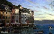 Portofino Sunrise Robert Finale 温馨小镇油画 Robert Finale 浪漫写意油画作品 绘画壁纸