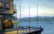 Cafe Santorini Robert Finale 巴黎情调油画 Robert Finale 浪漫写意油画作品 绘画壁纸