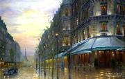 Cafe de Paris Robert Finale 巴黎情调油画 Robert Finale 浪漫写意油画作品 绘画壁纸