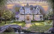 Close garden Robert Finale 童话别墅油画 Robert Finale 浪漫写意油画作品 绘画壁纸