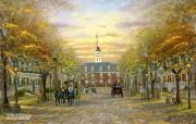 Colonial Williamsberg Robert Finale 风景油画壁纸 Robert Finale 浪漫写意油画作品 绘画壁纸