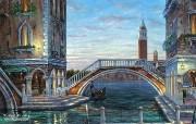 Evening in Venezia Robert Finale 威尼斯浪漫风景油画 Robert Finale 浪漫写意油画作品 绘画壁纸