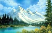 手绘风景油画壁纸bob ross风景油画作品 绘画壁纸