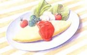 手绘美食壁纸食物彩色铅笔画一 绘画壁纸