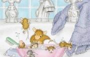Bath Time 可爱小老鼠插画壁纸 鼠鼠一家温馨小老鼠插画壁纸 绘画壁纸
