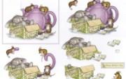 chamomile 可爱小老鼠插画原画 鼠鼠一家温馨小老鼠插画壁纸 绘画壁纸