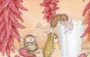 辣椒 可爱小老鼠插画壁纸 鼠鼠一家温馨小老鼠插画壁纸 绘画壁纸