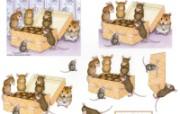 巧克力 可爱小老鼠插画原画 鼠鼠一家温馨小老鼠插画壁纸 绘画壁纸