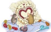 十字绣 可爱小老鼠插画壁纸 鼠鼠一家温馨小老鼠插画壁纸 绘画壁纸