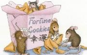 幸运曲奇 可爱小老鼠插画壁纸 鼠鼠一家温馨小老鼠插画壁纸 绘画壁纸