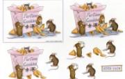 幸运曲奇 可爱小老鼠插画原画 鼠鼠一家温馨小老鼠插画壁纸 绘画壁纸